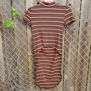 Tops - High low mock neck stripped tee